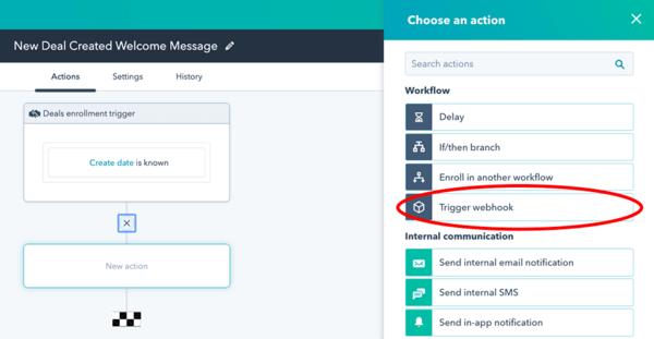 HubSpot workflow webhook trigger