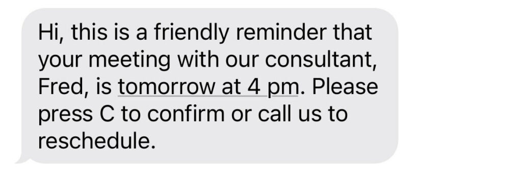 appointment reminder text message