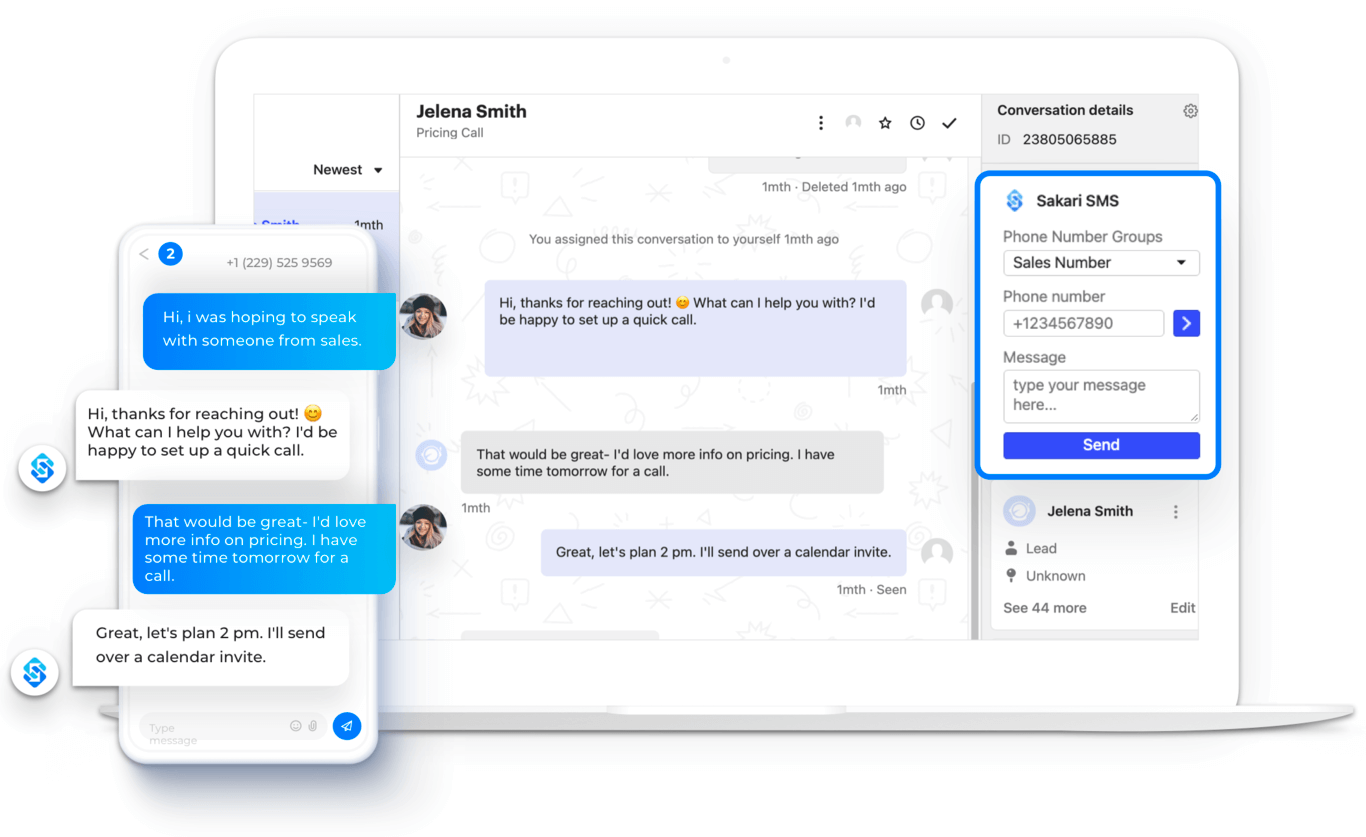 Send SMS in Intercom with Sakari widget