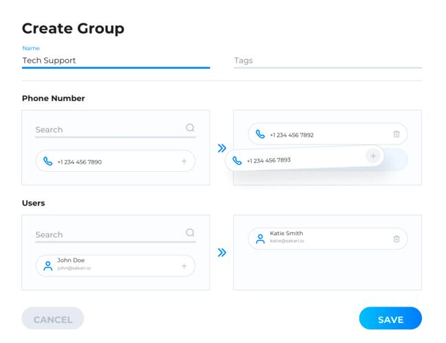 Sakari phone groups example