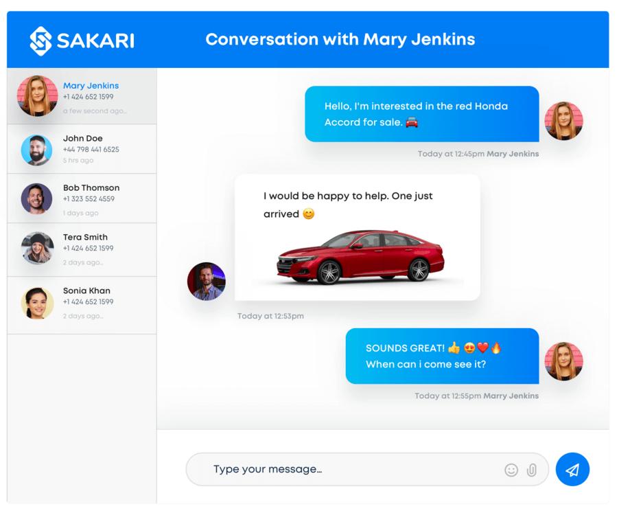 SMS conversation in Pipedrive using Sakari