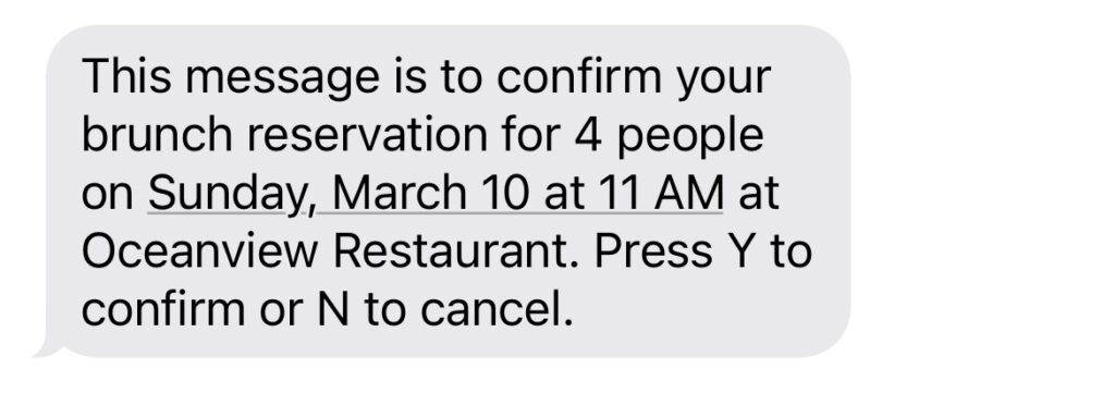 restaurant text message confirmation