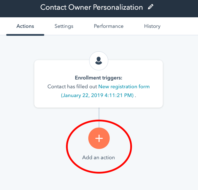 Add an action to your HubSpot SMS workflow