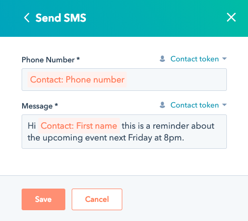 completed sms message template in HubSpot