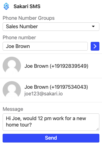 Intercom SMS widget