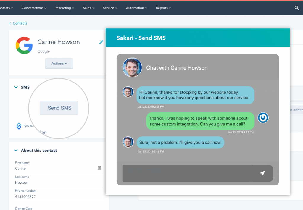 hubspot with chat window