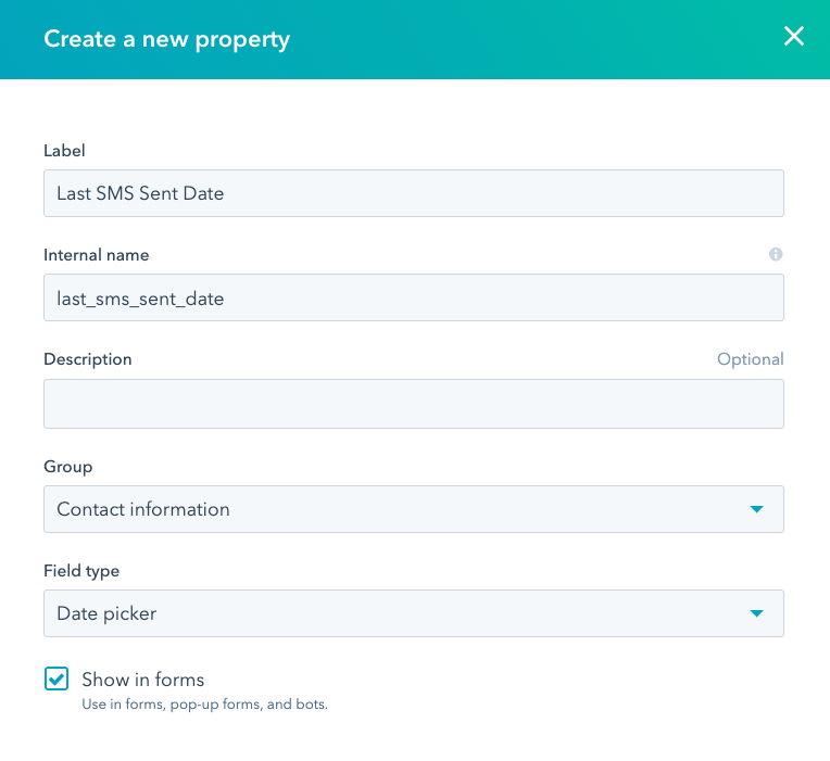 create a new property last sms sent date