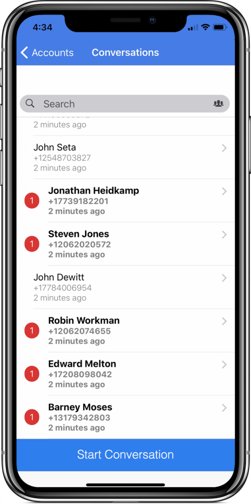 app conversation list