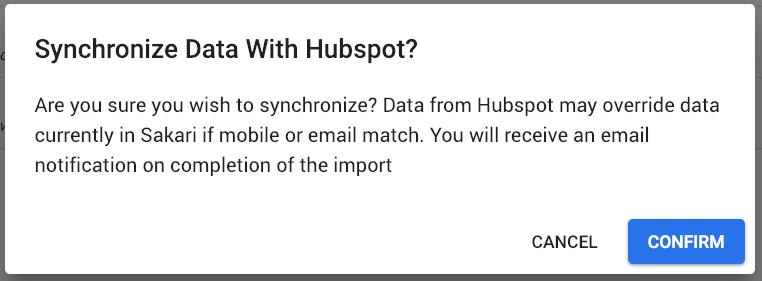 sync sakari data with HubSpot