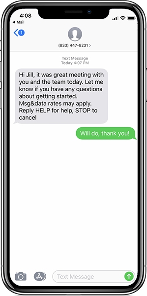 HubSpot SMS example